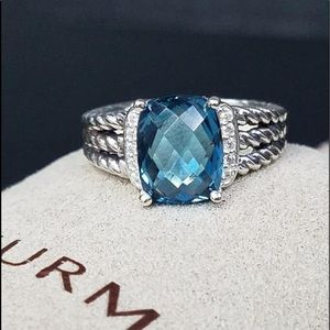 David Yurman Petite Wheaton Diamond Hampton Topaz